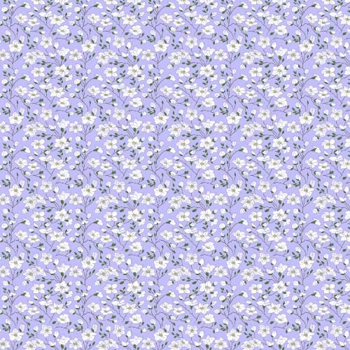 White flowers lilac background Adhesive Pattern - Clean Cut Graphics LLC
