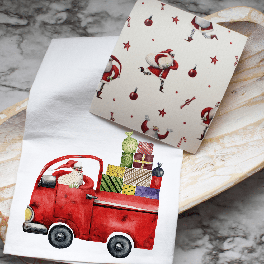 Happy Santa - Swedish Dishcloth