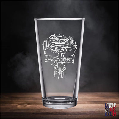 Punisher Guns Skull / Pint Glass