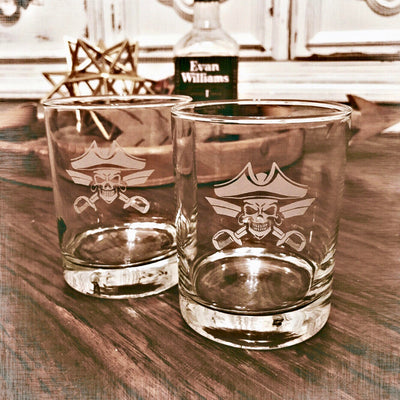 Pirate - D.O.F Whiskey/Bourbon/Scotch Set of 2 (Round or Square)