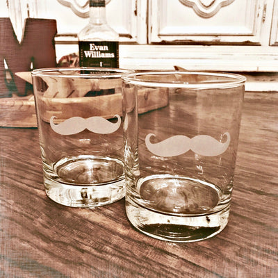 Mustache - D.O.F Whiskey/Bourbon/Scotch Set of 2 (Round or Square)