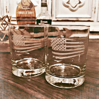 Tattered American Flag Whiskey Glasses Set