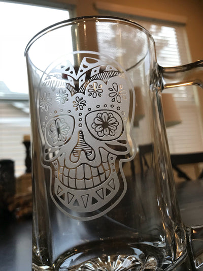 Sugar Skull Beer Mug Day of the Dead