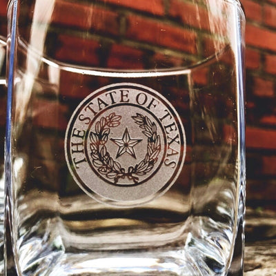 Texas State Seal - D.O.F Whiskey/Bourbon/Scotch Set of 2 (Round or Square)