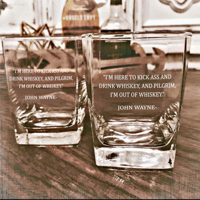 John Wayne - D.O.F Whiskey/Bourbon/Scotch Set of 2 (Round or Square)