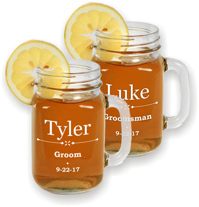Engraved Mason Jars for Weddings