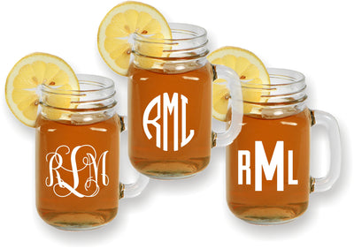 Engraved Monogrammed Mason Jar Mugs