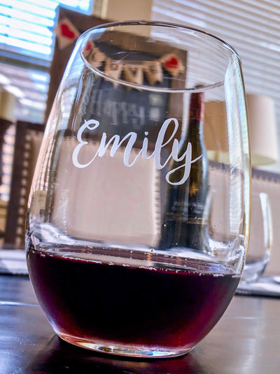 Personalized Engraved Stemless Wine Glass with Your Name