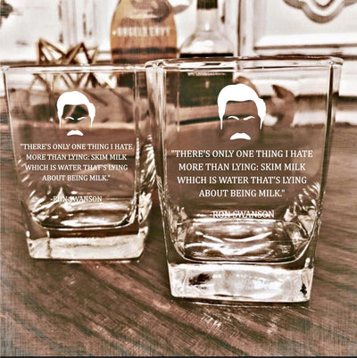 "Ron Swanson - ""Skim Milk"" - Parks and Rec D.O.F Whiskey/Bourbon/Scotch Set of 2 (Round or Square)"