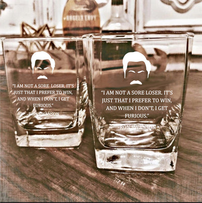 "Ron Swanson - ""Sore loser"" - Parks and Rec D.O.F Whiskey/Bourbon/Scotch Set of 2 (Round or Square)"
