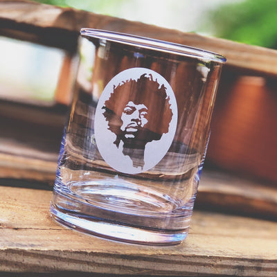 Jimi Hendrix (silhouette) - D.O.F Whiskey/Bourbon/Scotch Set of 2 (Round or Square)