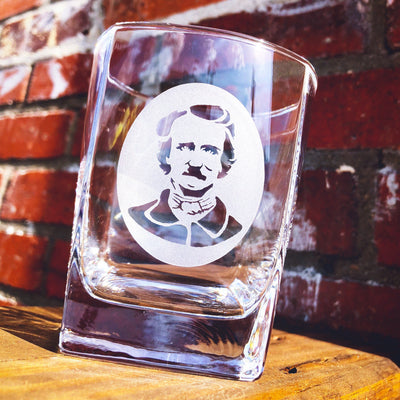 Edgar Allen Poe (silhouette) - D.O.F Whiskey/Bourbon/Scotch Set of 2 (Round or Square)