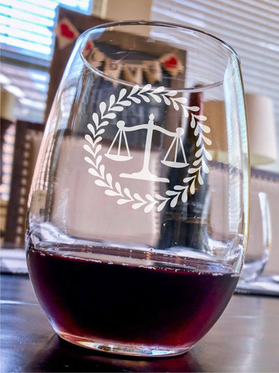 Engraved Stemless Wine Glass - Lawyer / Attorney