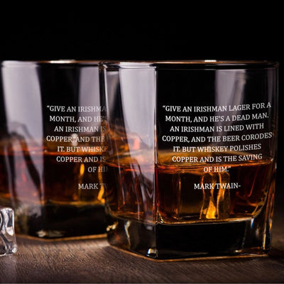 Mark Twain Irish Quote - D.O.F Whiskey/Bourbon/Scotch Set of 2 (Round or Square)