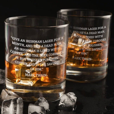 Mark Twain Irish Quote Whiskey Glass Set