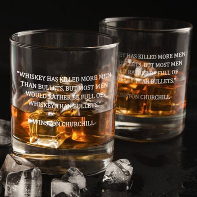 Winston Churchill Whiskey, Bullets Quote - D.O.F Whiskey/Bourbon/Scotch Single Glass (Round or Square)
