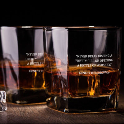 Ernest Hemingway Quote - D.O.F Whiskey/Bourbon/Scotch Set of 2 (Round or Square)