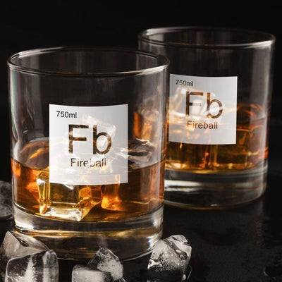 Periodic Table of Alcohol Fireball - Old Fashioned Whiskey/Bourbon/Scotch Set of 2 (Round or Square)