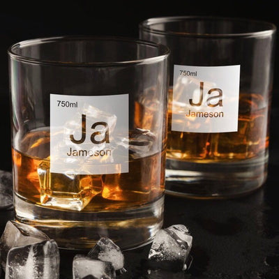 Periodic Table of Alcohol Jameson - Old Fashioned Whiskey/Bourbon/Scotch Set of 2 (Round or Square)