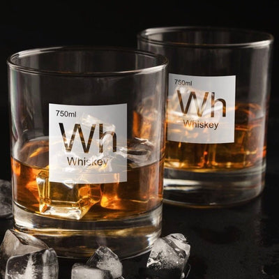Periodic Table of Alcohol Whiskey - Old Fashioned Whiskey/Bourbon/Scotch Set of 2 (Round or Square)