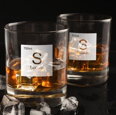Periodic Table of Alcohol Scotch - Old Fashioned Whiskey/Bourbon/Scotch Set of 2 (Round or Square)