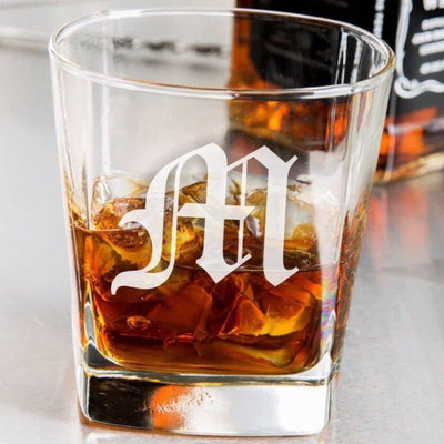 Old English Monogram Engraved Whiskey Glass (Single)