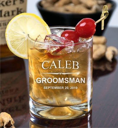 Groomsmen Deep Engraved - D.O.F Whiskey/Bourbon/Scotch - Single Glass (Round or Square)