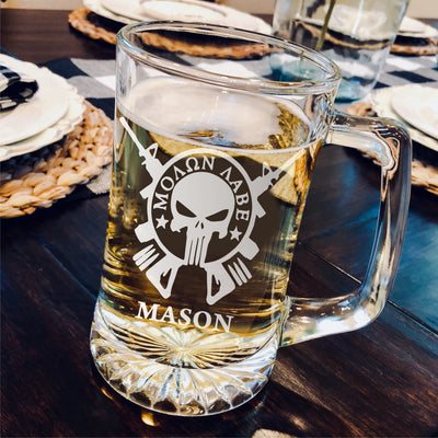 Molon Labe Beer Mug - Groomsmen, Wedding, Best man - Personalized