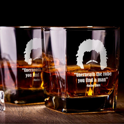 "Nacho Libre - ""Underneath The Robe"" - D.O.F Whiskey/Bourbon/Scotch Set of 2 (Round or Square)"