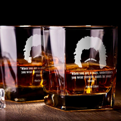 "Nacho Libre - ""Stretchy Pants"" - D.O.F Whiskey/Bourbon/Scotch Set of 2 (Round or Square)"