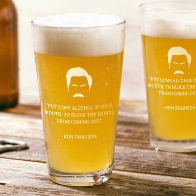 "Ron Swanson - ""Put Alcohol in Mouth"" - Parks and Rec Pint Glass Set of 2"