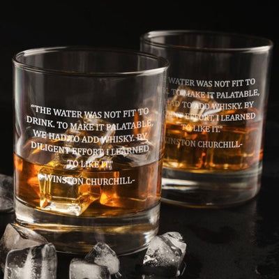 Winston Churchill Quote - D.O.F Whiskey/Bourbon/Scotch Set of 2 (Round or Square)
