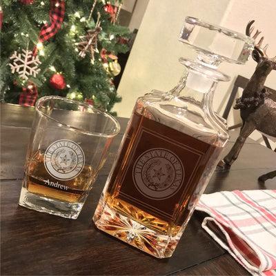 Texas State Seal Engraved Whiskey Decanter Set