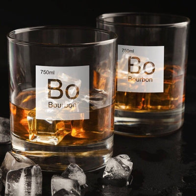 Periodic Table of Alcohol Bourbon - Old Fashioned Whiskey/Bourbon/Scotch Set of 2 (Round or Square)