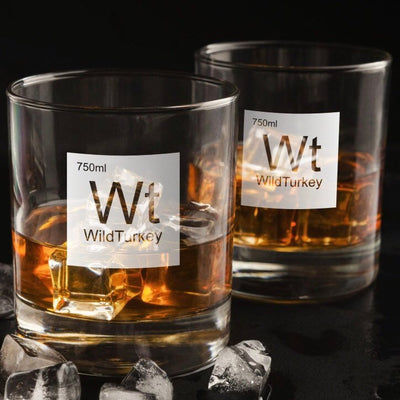 Periodic Table of Alcohol Wild Turkey - Old Fashioned Whiskey/Bourbon/Scotch Set of 2 (Round or Square)