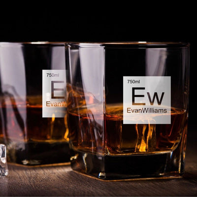 Periodic Table of Alcohol / Evan Williams Whiskey Glass Set