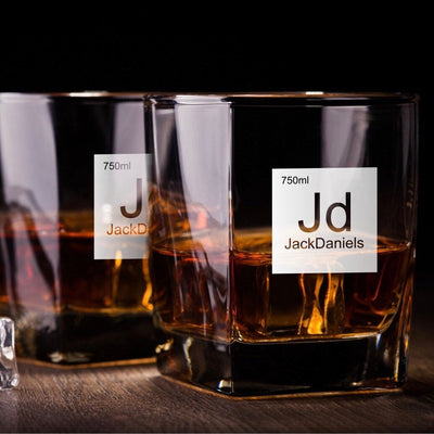 Periodic Table of Alcohol / Jack Daniels Whiskey Glass Set