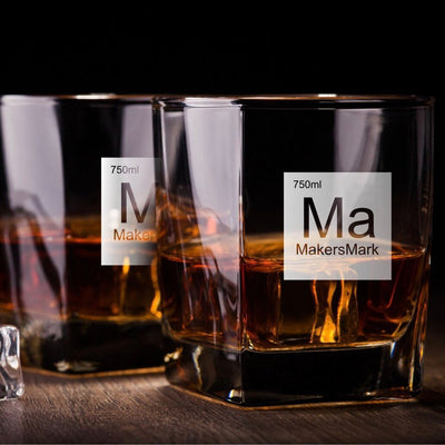 Periodic Table of Alcohol Makers Mark - Old Fashioned Whiskey/Bourbon/Scotch Set of 2 (Round or Square)