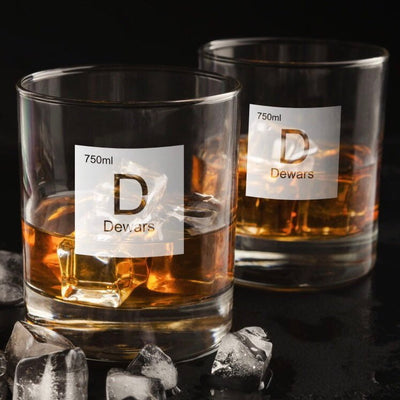 Periodic Table of Alcohol / Dewars Whiskey Glass Set