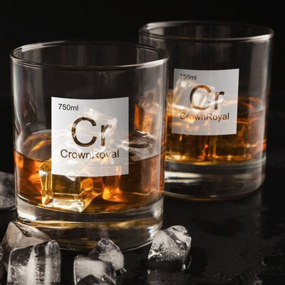 Periodic Table of Alcohol / Crown Royal Whiskey Glass Set