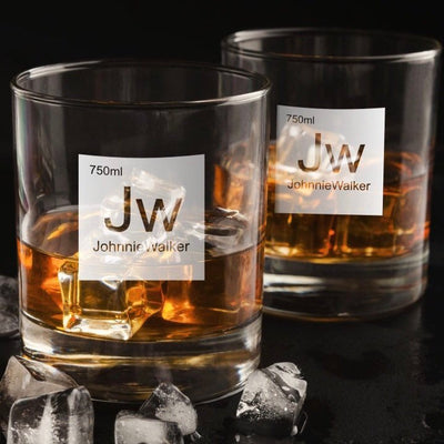 Periodic Table of Alcohol Johnnie Walker - Old Fashioned Whiskey/Bourbon/Scotch Set of 2 (Round or Square)