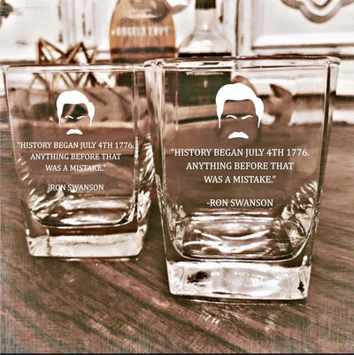 "Ron Swanson - ""History"" - Parks and Rec D.O.F Whiskey/Bourbon/Scotch Set of 2 (Round or Square)"