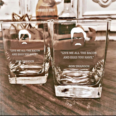 "Ron Swanson - ""Bacon"" - Parks and Rec D.O.F Whiskey/Bourbon/Scotch Set of 2 (Round or Square)"