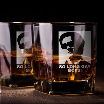 "Hangover Leslie Chow - ""Gay Boys"" - D.O.F Whiskey/Bourbon/Scotch Set of 2 (Round or Square)"