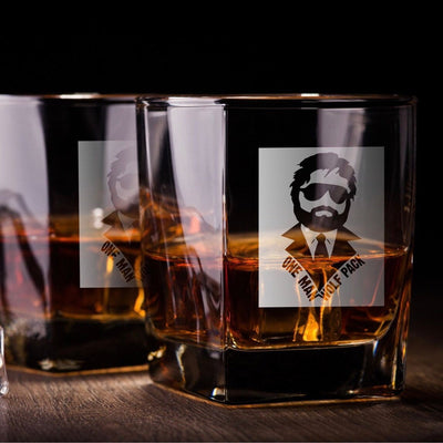 "Hangover Alan - ""One Man Wolf Pack"" - D.O.F Whiskey/Bourbon/Scotch Set of 2 (Round or Square)"