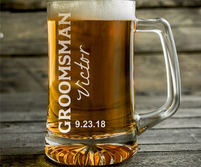 Set of 8 Wedding Engraved Personalized Beer Mugs for Groomsman & Best Man - 25oz Beer Mug
