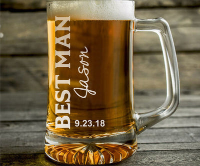 Set of 4 Wedding Engraved Personalized Beer Mugs for Groomsman & Best Man - 25oz Beer Mug