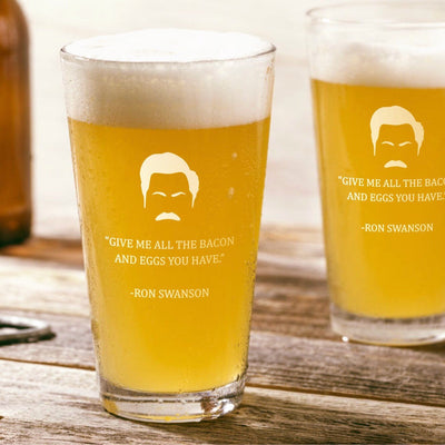 "Ron Swanson - ""Give Me All The Bacon"" - Parks and Rec Pint Glass Set of 2"