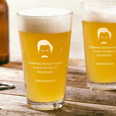 "Ron Swanson - ""Camping"" - Parks and Rec Pint Glass Set of 2"