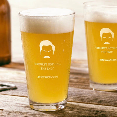 "Ron Swanson - ""Regret Nothing"" - Parks and Rec Pint Glass Set of 2"